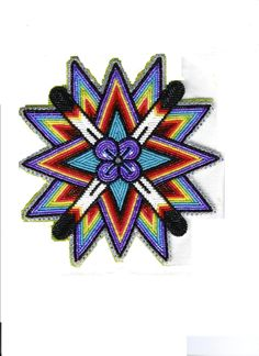 """""""crown center"""": bead-embroidered medallion by Samihah Jim Native Beading Patterns, Beadwork Designs, Bead Loom Patterns, Jewelry Patterns, Indian Beadwork, Native Beadwork, Native American Beadwork, Beading Projects, Beading Ideas"""
