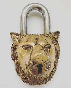#lionlock #metal #antique #padlock #vintage #Tibetan #etsy #fossilsofthefuture #comediscover