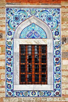 Window at Konak Mosque, Izmir. Photo by F H Mira Mosque Architecture, Art And Architecture, Architecture Details, Stairs Window, Turkish Tiles, Moroccan Style, Place Of Worship, Islamic Art, Windows And Doors