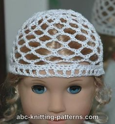 free pattern Crochet...ABC Knitting Patterns - American Girl Doll Lace Hat.