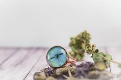 Cornflower blue copper ring with real dried от FriendMeBijou