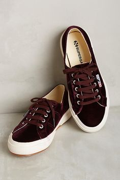 Superga Velvet Sneakers, Wine Source by laurenaoshea shoes fashion Sneakers Mode, Sneakers Fashion, Shoes Sneakers, Women's Shoes, Superga Shoes, Summer Sneakers, Crazy Shoes, Me Too Shoes, Coco Chanel