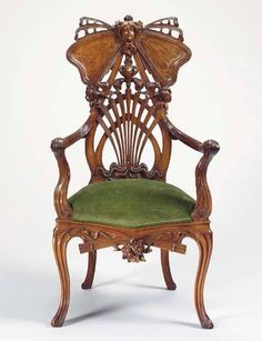 Carved mahogany art nouveau armchair, c. 1905 https://www.facebook.com/TheJewelryLadysStore/photos/a.269461633249360.1073741828.266667470195443/474136376115217/?type=3