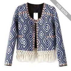Diamond Point Short Tapestry Fringed Jacket