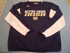 adidas Polyester Regular Size L Football Apparel for Men Notre Dame Irish, Irish Fans, Notre Dame Football, Football Outfits, Navy Gold, Adidas, Crew Shirt, Sweatshirts, Long Sleeve