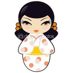kokeshi hermosa muñeca