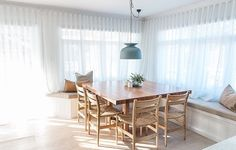 Modern design in solid clear lacquered wormy chestnut. Part of a collection of family living and dining room furniture. Oz Design Furniture, Interior Design Tips, Dining Nook, Dining Chairs, Dining Decor, Home Renovation, Kyal And Kara, Perriand, Square Dining Tables
