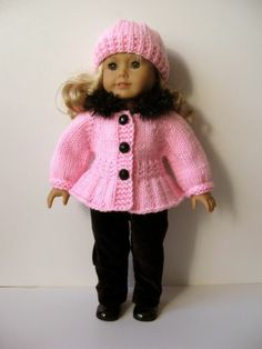 "SASSYclassy PINK 18"" American Girl AG DOLL clothes hand knitted 2 pc sweater set made using ""ice skater"" PATTERN by KNITnPLAY"