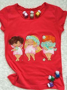 """Купить """"Девчонки-грации"""" - коралловый, роспись по ткани, роспись одежды, роспись на заказ, рисунок на ткани"""