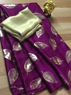 Pure Satin Silk Designer Saree LEAF Printed Girlish Sari With Golden Plain Unstitched Blouse Fabric Dress Material Simple Sarees, Trendy Sarees, Floral Print Sarees, Printed Sarees, Golden Blouse, Sari Blouse Designs, Blouse Styles, Saree Dress, Saree Blouse