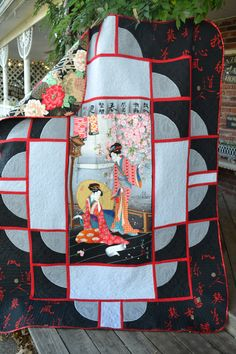 Oriental Japanese Geisha Girl Shoji Screen  Asian/Chinese Lotus Blossom Home Decor Twin Size Quilt. via Etsy. I like how squares and rectangles frame center panel and move the eye out.