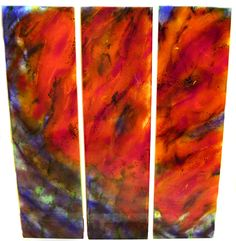 WatercolorTriptychDone layers of frit in 'glass boxes' for watercolour like blends Glass Boxes, Watercolour, Helpful Hints, Glass Art, Layers, It Cast, Magic, Shapes, How To Make