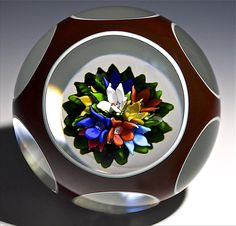 "Saint Louis {France} paperweight - Upright Bouquet, with clear cased double overlay, Magnum. 1983, 3 3/8""w x 2 5/8""t, 33.5oz. - #0840"