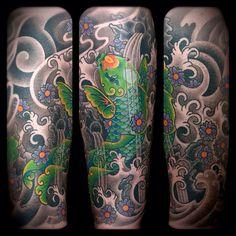 2012  #koi #fish #sakura #flowers #waves #waterfalls #water #rocks #psychedelic #oriental #tattoo #colortattoo #2012