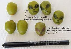 Olive Aliens  - Large Spanish olives + black food-safe marker = easy hors d'oeuvre/garnish DIY