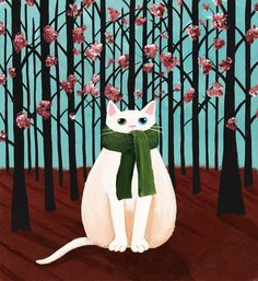 White Forest Cat in a Scarf - Original Folk Art Painting