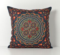 Suzani Pillow Cover  20x20 Navy Hand Embroidered Silk by pillowme, $150.00