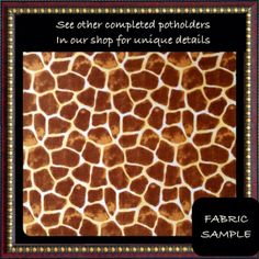 GIRAFFE  Potholder Quilted Chenille Fund by OperationPetsAlive, $12.00