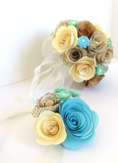 Wrist Corsage with Vintage Book Page by KristaMaeStudio, $15.00. Can get the book pages customized to our color theme.