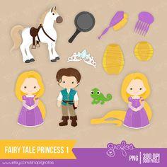 PRINCESA DE CUENTO 1 Digital Clipart Imagenes Rapunzel / por grafos