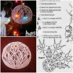 Bombki szydełkowe = Schematy = Wzór ..... Crochet Christmas Ornaments, Christmas Crochet Patterns, Christmas Knitting, Christmas Cross, Diy Christmas Ornaments, Christmas Decorations, Crochet Snowflake Pattern, Crochet Snowflakes, Crochet Ball