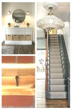 The large gold guilt mirror is a perfect accent to the grey walls and staircase… Victorian Hallway, Grey Walls, Entryway Tables, Improve Yourself, Mirror, Gold, Furniture, Home Decor, Gray Walls