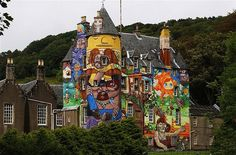 In 2007, the Earl's son and daughter commissioned Brazilian graffiti duo, Os Gêmeos to paint the castle's exterior with bright, psychedelic scenes interwoven with surreal characters.Street art, once a taboo art form has become increasingly acceptable in the public sphere, and has become a popular feature on this historic castle to visitors of the Kelburn estate.