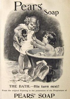1895 Pears' Soap Ad ~ Bathing Boy Reaches for Puppy