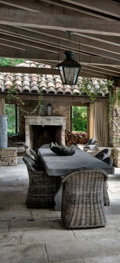 New concrete patio table courtyards 28 Ideas Outdoor Fire, Outdoor Areas, Outdoor Rooms, Outdoor Living, Rustic Outdoor, Concrete Patios, Patio Table, Backyard Patio, Cement Table