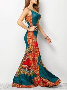Bohemian Tribe Print Long Fitted Mermaid Dress