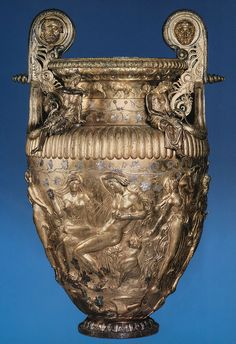 The Derveni krater. This vessel was used as a depository urn for the deceased's ashes in Derveni Grave Its original function was that of a vessel in which to mix wine and water. Ancient Greek Art, Ancient Romans, Ancient Greece, Ancient History, Objets Antiques, Classical Greece, Roman Art, Minoan, Greek Jewelry