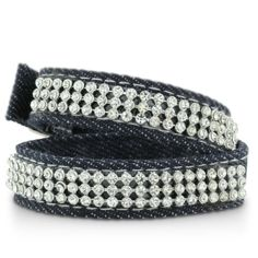 DBL LEATHER WRAP W/ BL CRYSTAL Shimmering Rhinestone and Denim Rope Double Wrap Bracelet SuperJeweler. $6.49. Multiple Closures To Fit Women Of All Sizes!. Denim Jewelry Is Innovative And Fun. You Will Love The Way The Rhinestones Shimmer