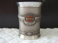 Harley Davidson 95th Anniversary Pewter Shot Glass | eBay