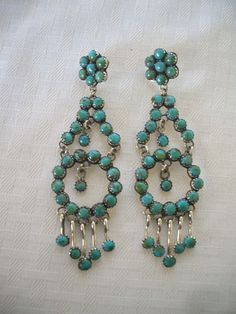 Signed NAVAJO Sterling Silver TURQUOISE Petit Point Dangle Chandelier EARRINGS