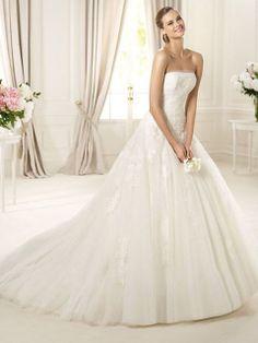 BallGown Strapless Sweep Train Tulle Wedding Dress at Msdressy