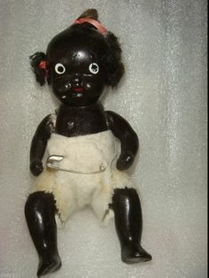 """Antique Bisque African Americana Black Doll Jointed Baby Doll,Estate, Japan 4"""""""