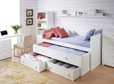 if not bunk bed, captains bed could be good idea - flat against current closet wall. Not white