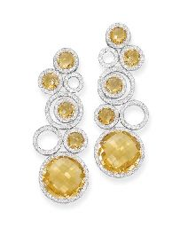 A Pair of Citrine and Diamond 'Bubble' Ear Pendants, by Michele della Valle
