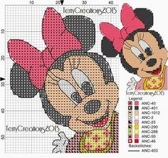 Minnie Cross Stitch For Kids, Cute Cross Stitch, Cross Stitch Patterns, Beginner Knitting Patterns, Crochet Patterns, Stitch Character, Stitch Cartoon, Manta Crochet, Pooh Bear