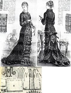 Tygodnik Mód 1878.: Princess gown from dark green cashmere with reps bows and fringe..