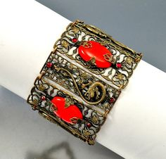 Neiger Brothers Red Glass Dragon Czech Art Deco Bracelet  Vintage Jewelry
