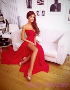 Elegant Red Maxi Prom Dress A Line Sweetheart With Slit Side Simple Chiffon Prom Gowns - Thumbnail 2