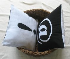 black and white cotton handloom typographic symbol throw pillow covers