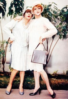 "Tony Curtis and Jack Lemmon in character on the set of ""Some Like it Hot"", 1959. Great movie."