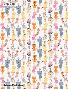 """Cute Cats Piano Music Sheets Piano Music Sheets and Songwriting Notebook, Cute Cats Cute Sitting Cats Pattern MSPiano Cover, 8.5x11"""", 200 Pages #musicsheets #cats #nature #animals #music"""