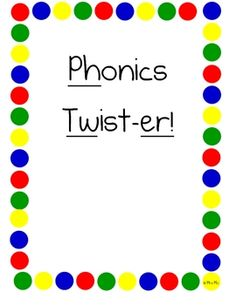 This game takes a traditional Twister game board and transforms it into a fun game that helps students identify and spell common phonics digraphs, blends and sounds on a Twister board!