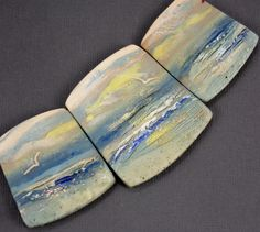 Handmade Polymer Clay Statement Focal 3 Bead Set -Panorama Graduated Beads-Seascape-Morning Sunrise-Beach Themed-Light Blue-PA 8549 by StudioStJames on Etsy