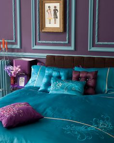 A real boudoir in turquoise and purple.