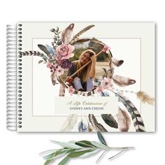 Funeral Sign In Guest Book Spiral Bound Dreamcatcher. Our condolences to you the loss of your loved one. This free spirited photo funeral keepsake features a dreamcatcher with your loved one's photo. We customize the entire design for you, including the photo sizing and word placement.