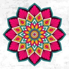 Colorful mandala with floral ornament Fr. Mandala Art Lesson, Mandala Drawing, Mandala Painting, Mandala Design, Mandala Pattern, Art Floral, Mandala Coloring, Coloring Book, Diy Arts And Crafts